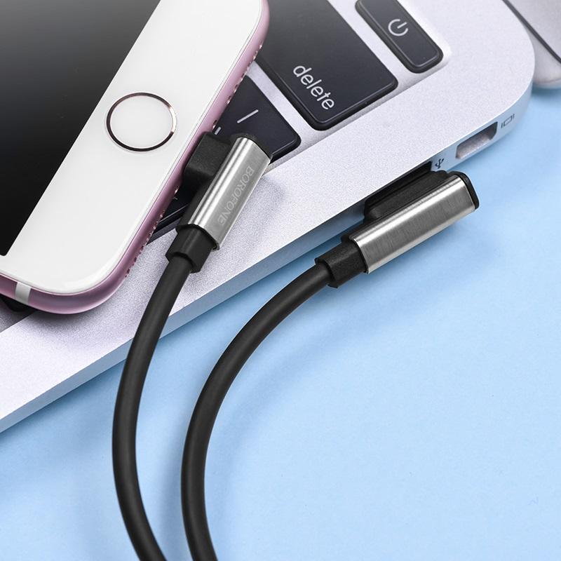 borofone bu5 ice steel lightning charging data usb cable interior