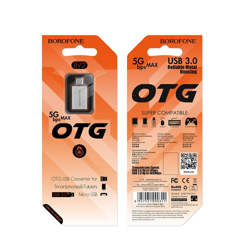 borofone bv2 usb to micro usb otg adapter package