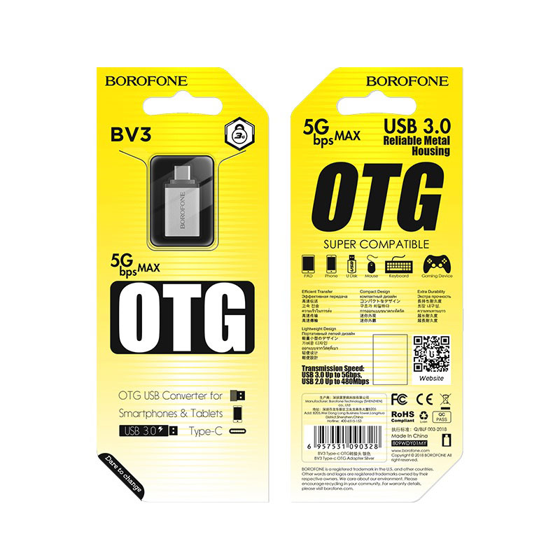 borofone bv3 usb to type c otg adapter package