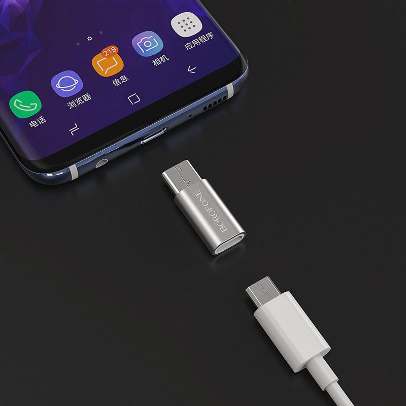 borofone bv4 micro usb to type c adapter phone