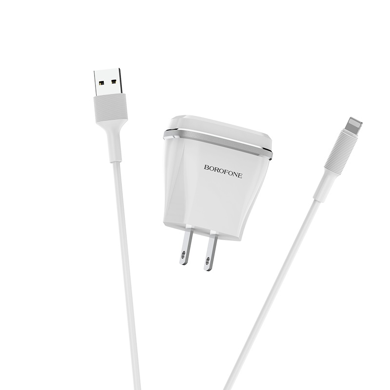 borofone ba1 joyplug single usb port charger us set with lightning cable connectors