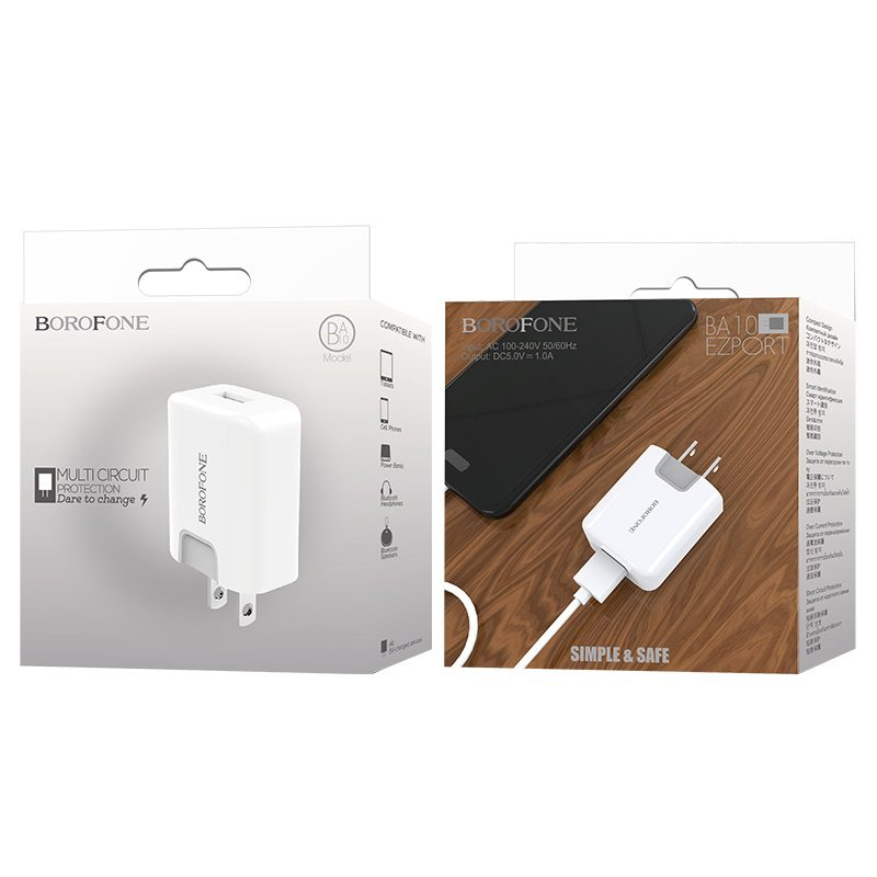 borofone ba10 ezport single usb port charger us package