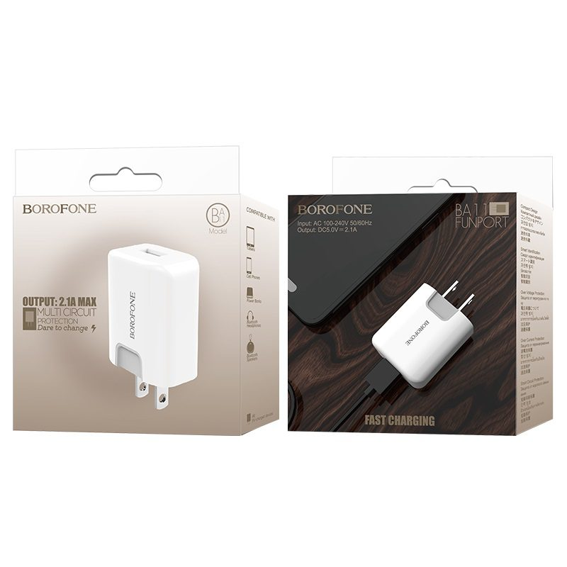 borofone ba11 funport single usb port charger us package