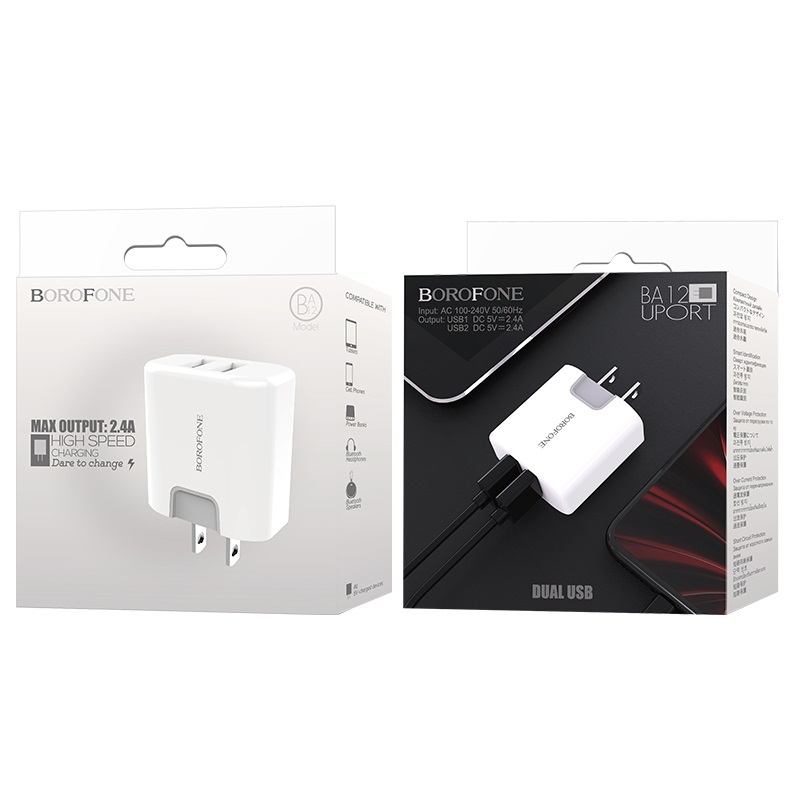borofone ba12 uport double usb port charger us package