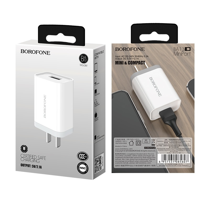 borofone ba13 miniport single usb port charger 3c package