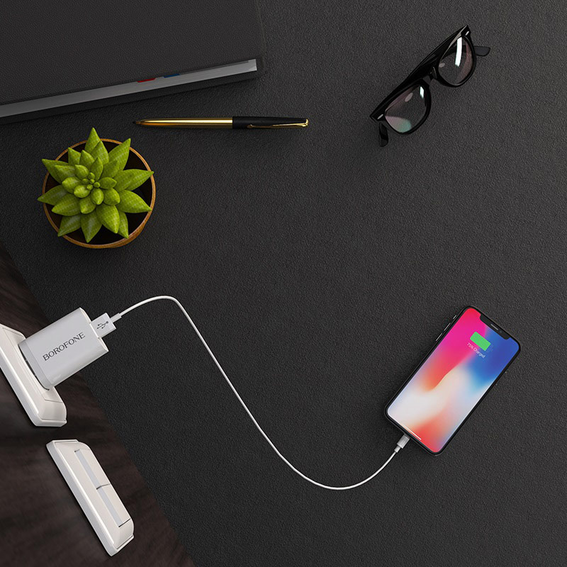 borofone ba13 miniport single usb port charger 3c set with lightning cable charging