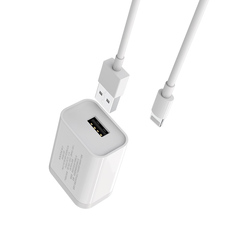 borofone ba13 miniport single usb port charger 3c set with lightning cable connectors