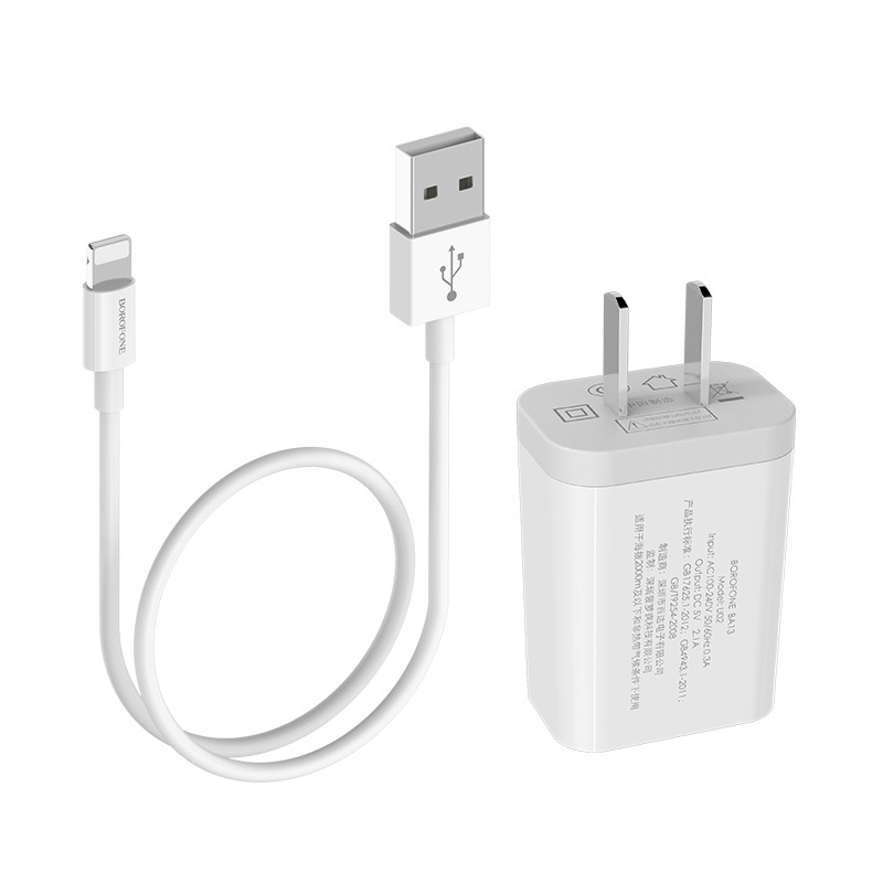 borofone ba13 miniport single usb port charger 3c set with lightning cable joints