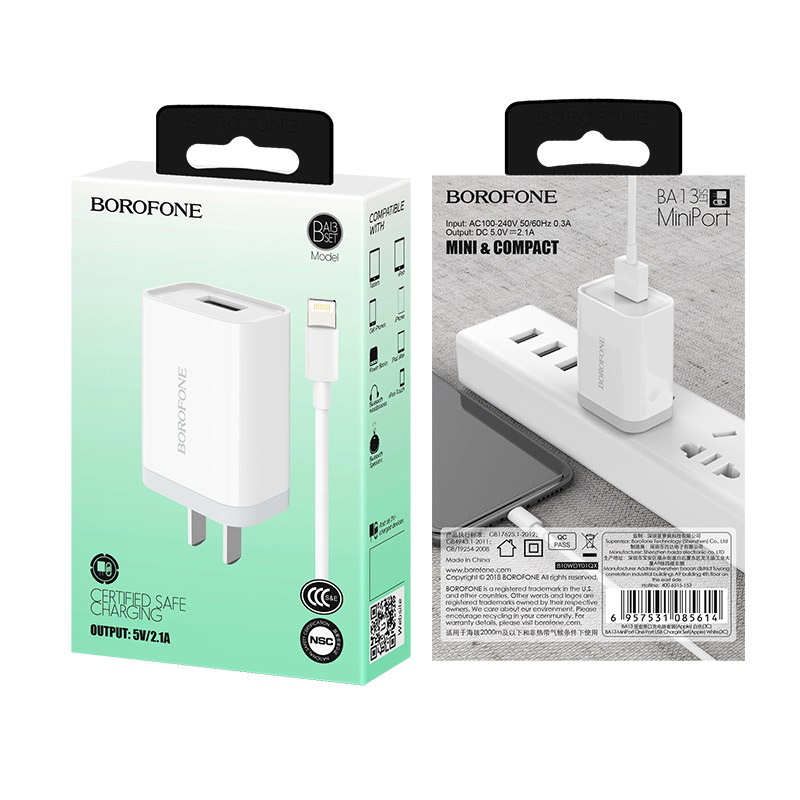 borofone ba13 miniport single usb port charger 3c set with lightning cable package