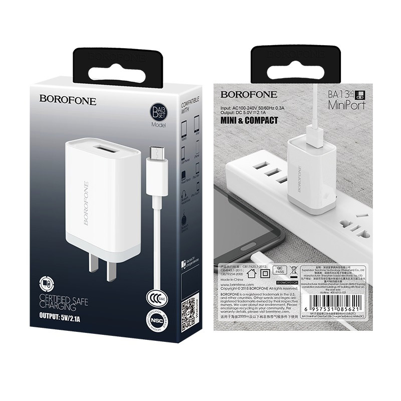 borofone ba13 miniport single usb port charger 3c set with micro usb cable package