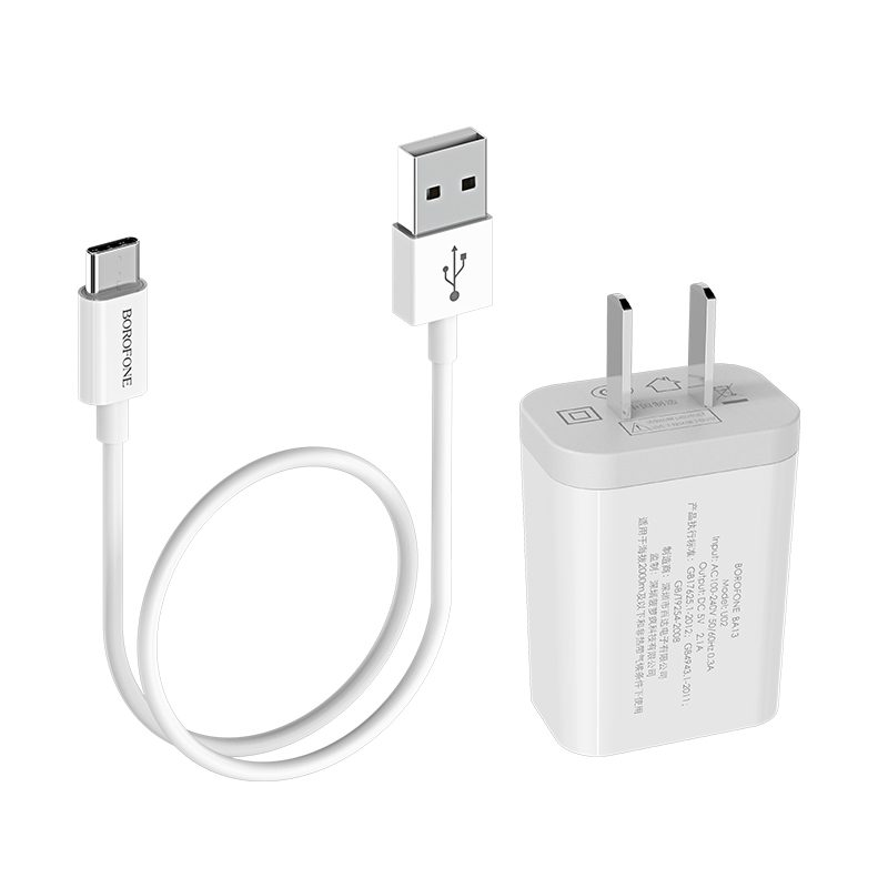 borofone ba13 miniport single usb port charger 3c set with usb c cable connectors