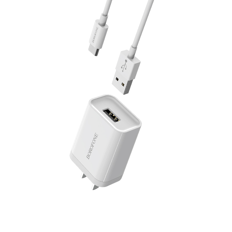 borofone ba13 miniport single usb port charger 3c set with usb c cable overview