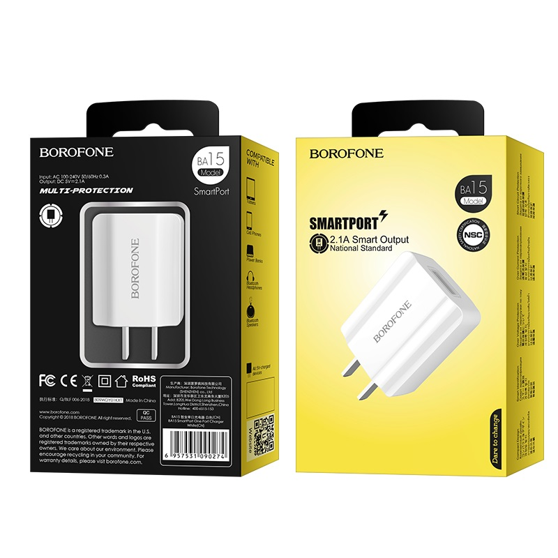 borofone ba15 smartport single usb wall charger cn package