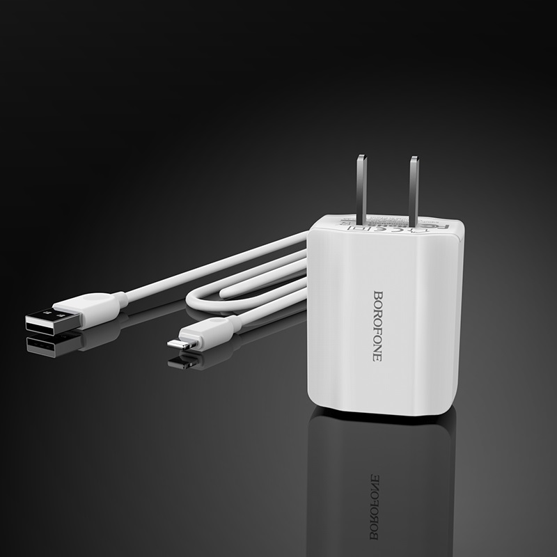 borofone ba15 smartport single usb wall charger cn set with lightning cable overview