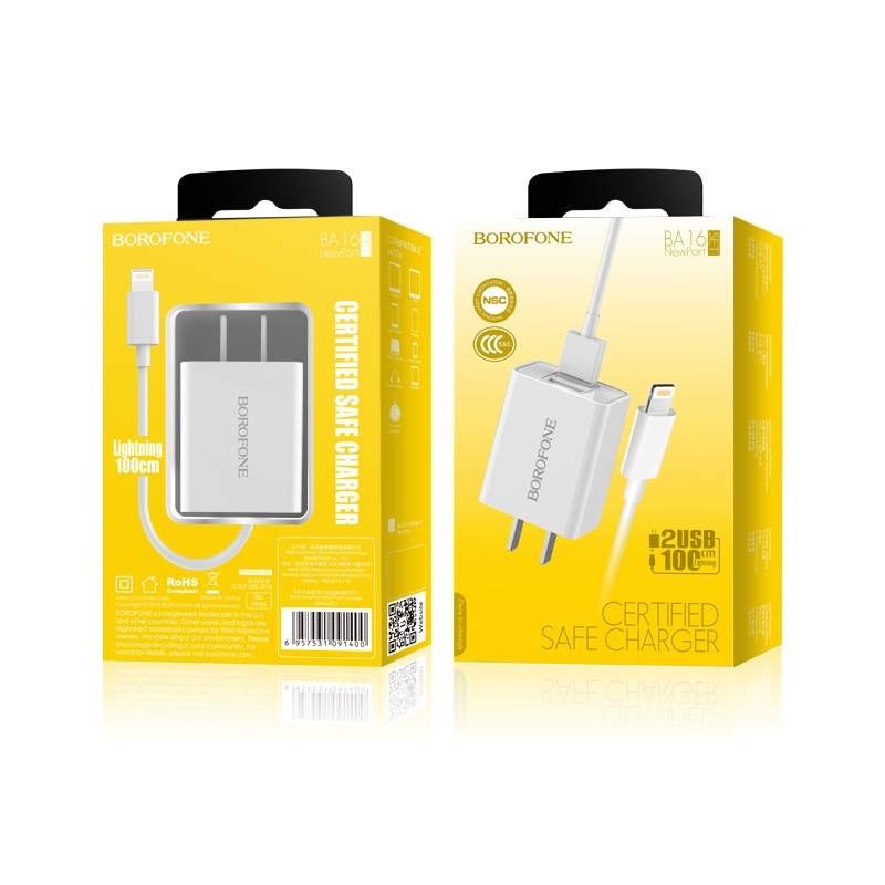 borofone ba16 newport dual usb wall charger 3c set with lightning cable package
