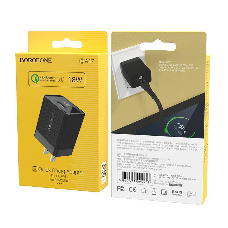 borofone ba17 centrino single usb port wall charger qc30 us black box