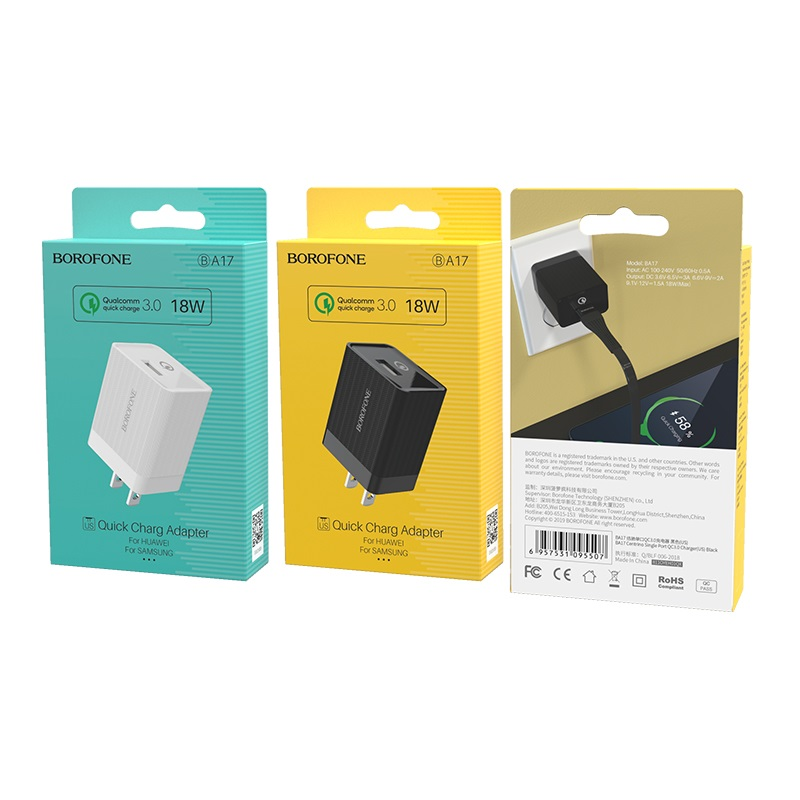 borofone ba17 centrino single usb port wall charger qc30 us package