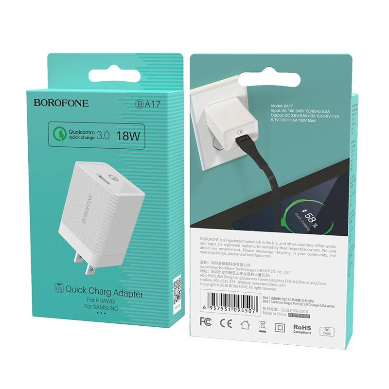 borofone ba17 centrino single usb port wall charger qc30 us white box