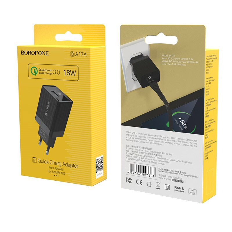 borofone ba17a centrino single usb port wall charger qc30 eu black box