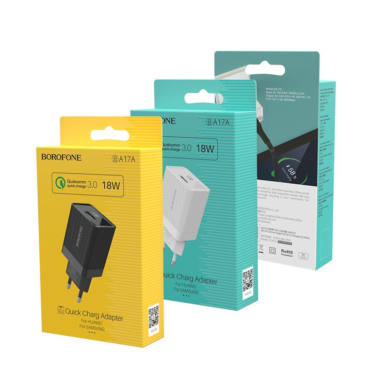 borofone ba17a centrino single usb port wall charger qc30 eu package