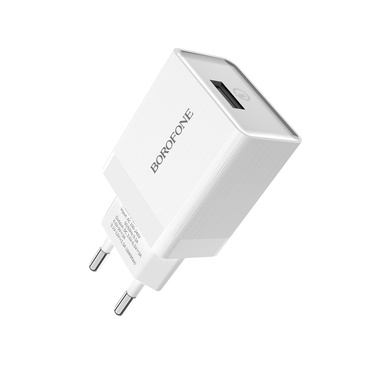 borofone ba17a centrino single usb port wall charger qc30 eu plug