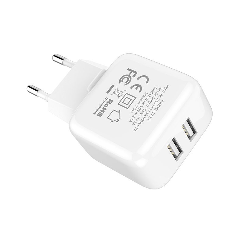 borofone ba18 vigorous power dual usb port wall charger eu adapter