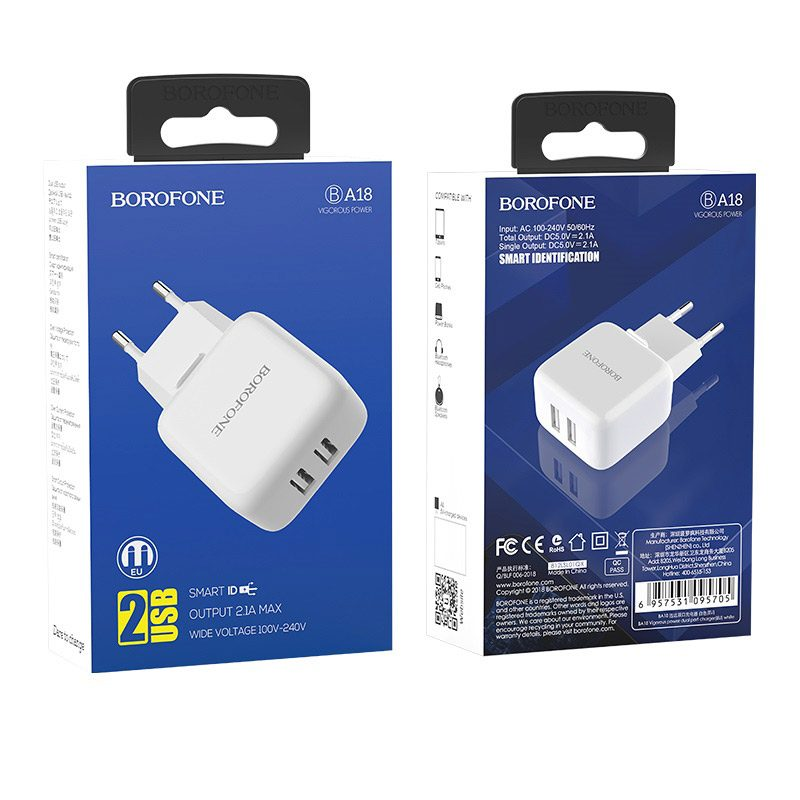 borofone ba18 vigorous power dual usb port wall charger eu package