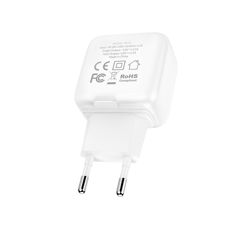 borofone ba18 vigorous power dual usb port wall charger eu plug