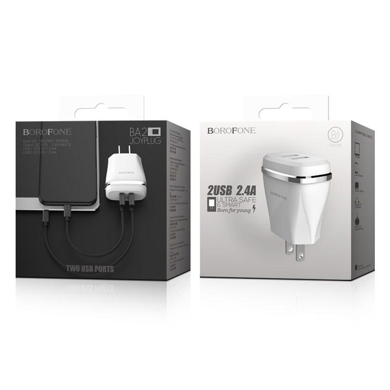 borofone ba2 joyplug double usb port charger us package