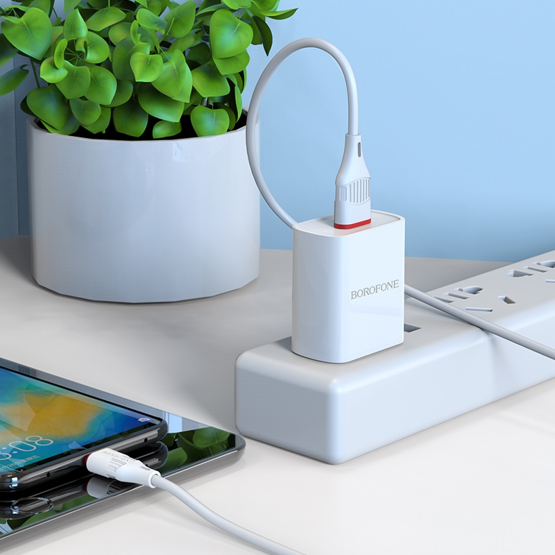 borofone ba20 sharp single usb port wall charger us set with usb c cable charging