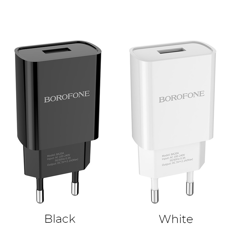 borofone ba20a sharp single usb port wall charger eu colors