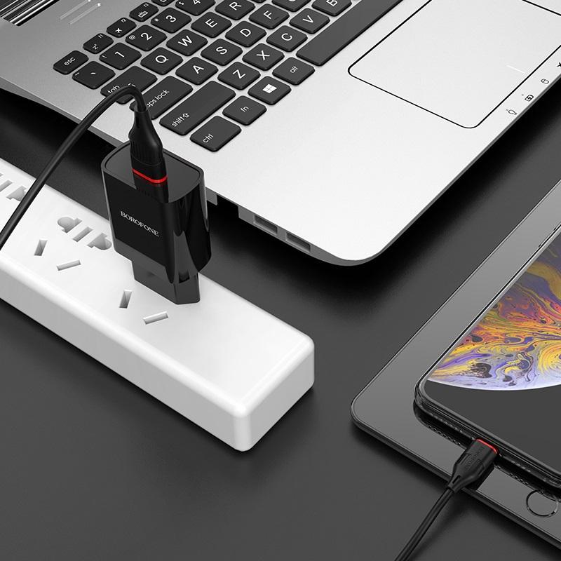 borofone ba20a sharp single usb port wall charger eu set with lightning cable adapter