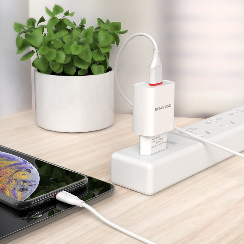 borofone ba20a sharp single usb port wall charger eu set with lightning cable charging