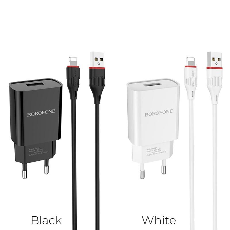 borofone ba20a sharp single usb port wall charger eu set with lightning cable colors