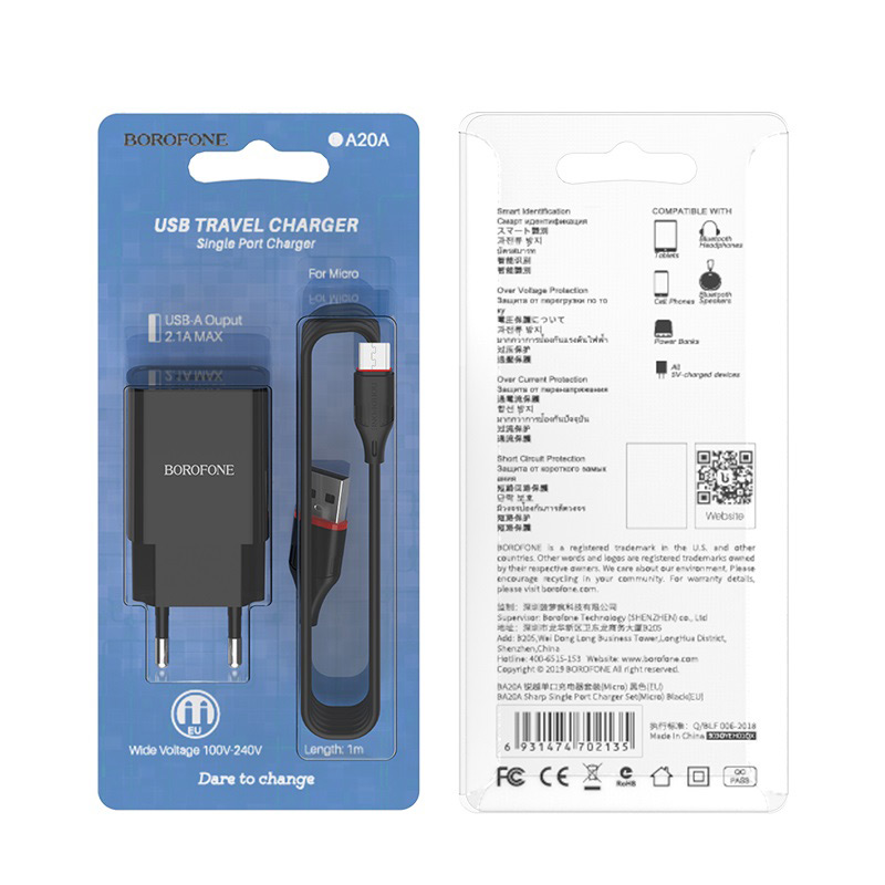 borofone ba20a sharp single usb port wall charger eu set with micro usb cable black box