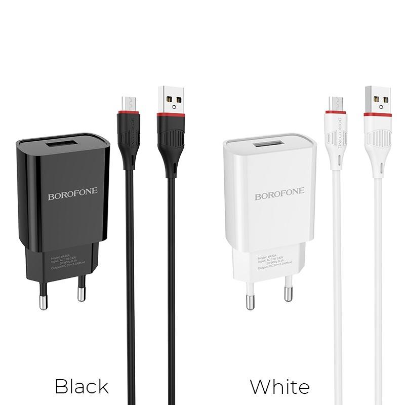 borofone ba20a sharp single usb port wall charger eu set with micro usb cable colors