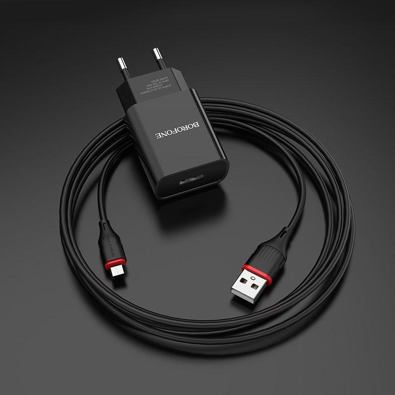 borofone ba20a sharp single usb port wall charger eu set with micro usb cable overview