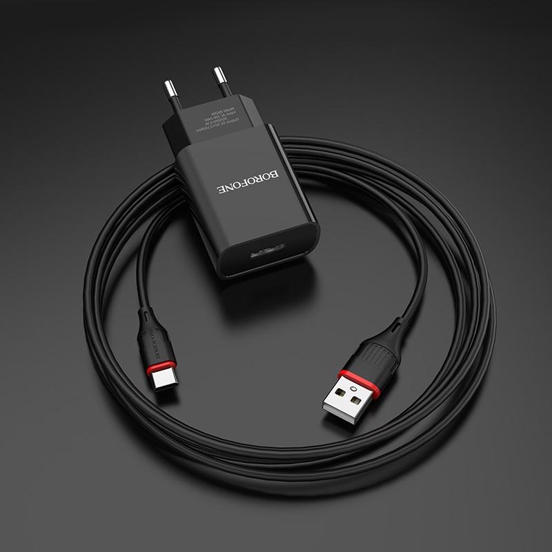 borofone ba20a sharp single usb port wall charger eu set with usb c cable overview
