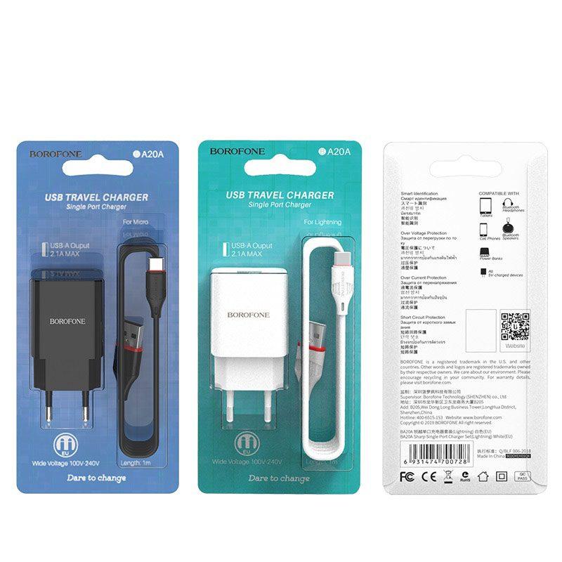 borofone ba20a sharp single usb port wall charger eu set with usb c cable package