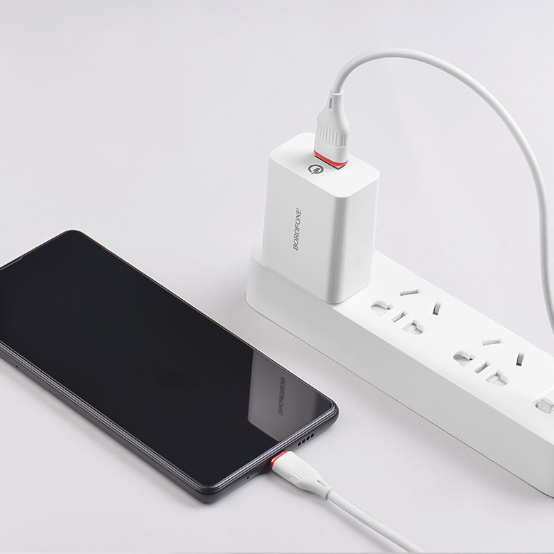 borofone ba21 long journey single usb port qc30 wall charger us set with usb c cable charging