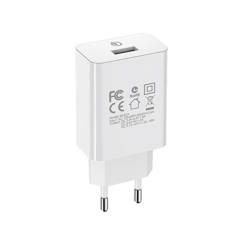 borofone ba21a long journey single usb port qc30 wall charger eu adapter