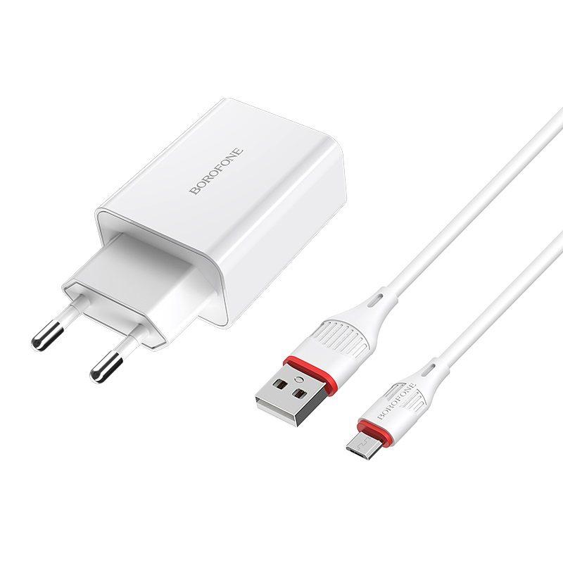 borofone ba21a long journey single usb port qc30 wall charger eu set with micro usb cable plug