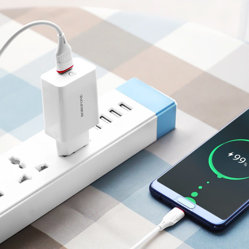 borofone ba21a long journey single usb port qc30 wall charger eu set with usb c cable overview