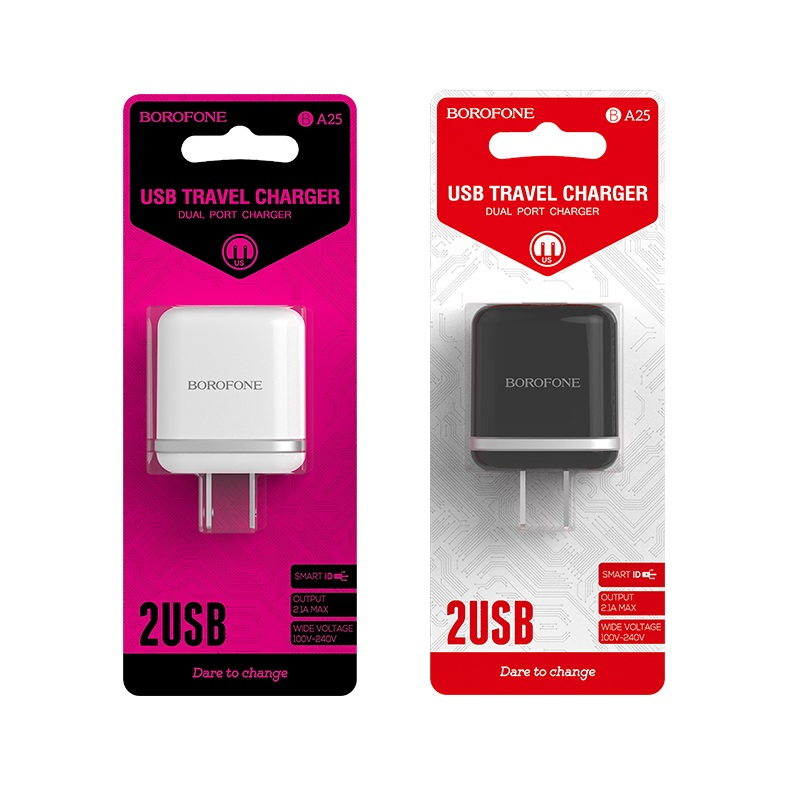 borofone ba25 outstanding dual usb port charger us package