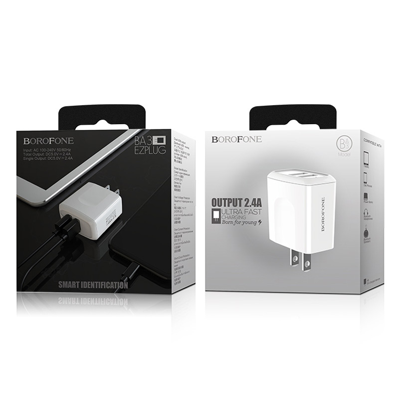borofone ba3 ezplug double usb port charger us package