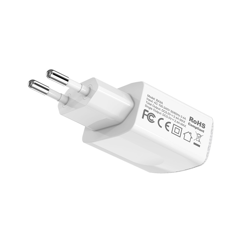 borofone ba3a ezplug double usb port charger eu adapter