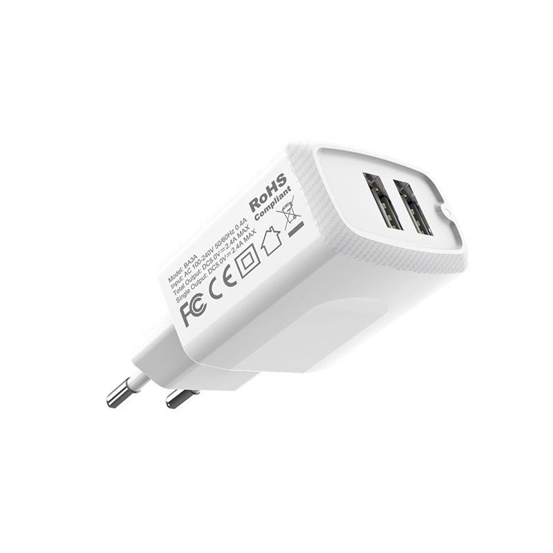 borofone ba3a ezplug double usb port charger eu durable