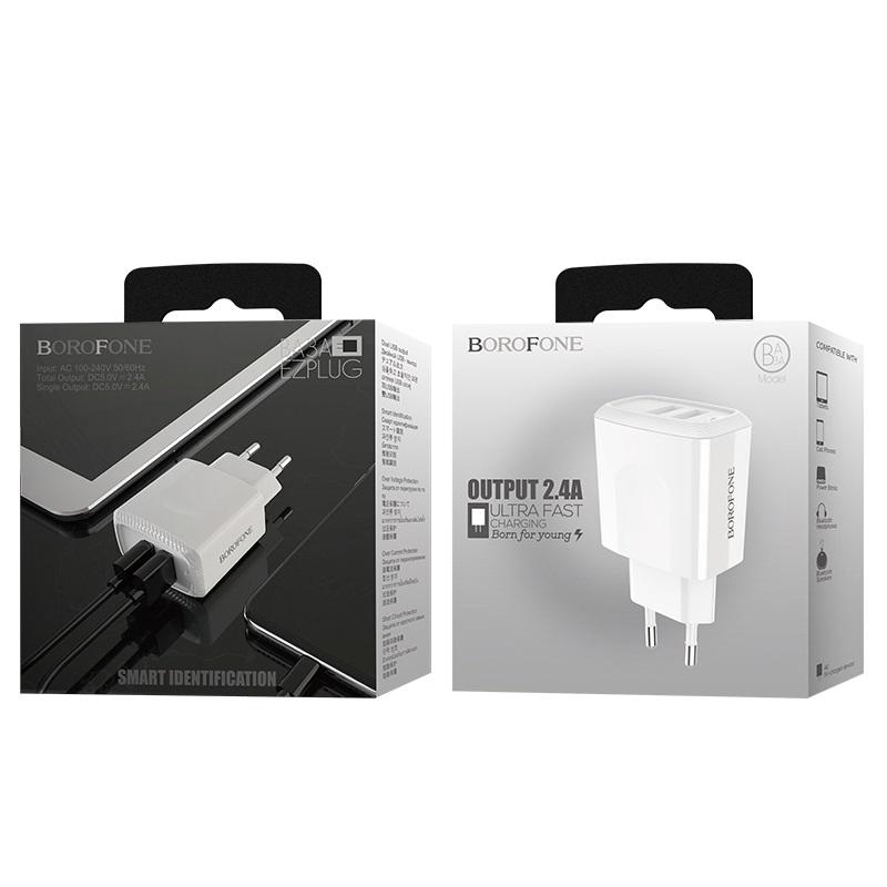 borofone ba3a ezplug double usb port charger eu package