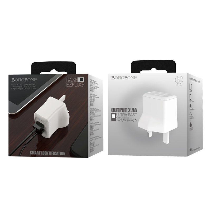 borofone ba3b ezplug double usb port charger uk package
