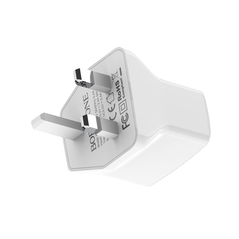 borofone ba3b ezplug double usb port charger uk plug